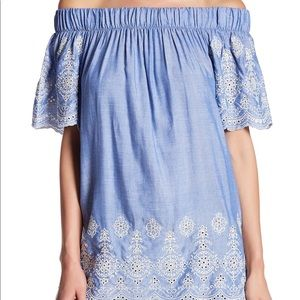 Pleione off shoulder lace top. NWT. Size Large